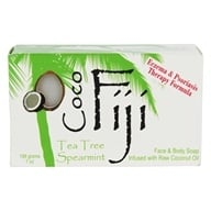 Image of Organic Fiji - Face and Body Coconut Oil Bar Soap Tea Tree Spearmint - 7 oz.