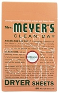 Mrs. Meyer's - Clean Day Dryer Sheets Geranium - 80 Sheet(s) (808124143487)