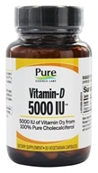 Pure Essence Labs - Vitamin-D 5000 IU - 30 Vegetarian Capsules (659670240010)
