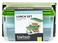 Fit & Fresh - Healthy Lunch On The Go Set with Removable Ice Packs - 17 Piece Set Green - CLEARANCED PRICED