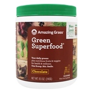 Amazing Grass - Green SuperFood Drink Powder 30 Servings Cacao Chocolate Infusion - 8.5 oz. (829835933006)