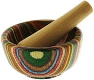 Harold Import - Mortar and Pestle Wood Round Rainbow - 3.5 in. CLEARANCE PRICED