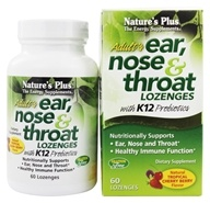 Nature's Plus - Adult's Ear Nose & Throat Lozenges With K12 Probiotics Natural Tropical Cherry Berry - 60 Lozenges (097467492547)
