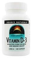 Image of Source Naturals - Vitamin D-3 Bioactive Form For Bone & Immune Health 2000 IU - 100 Capsules