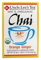 Image of Uncle Lee's Tea - 100% Organic Chai Tea Caffeine Free Orange Ginger - 18 Tea Bags