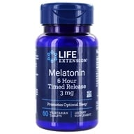 Life Extension - Melatonin 6-Hour Timed Release 3 mg. - 60 Vegetarian Tablets (737870178668)