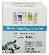 Image of Aura Cacia - Aromatherapy Shower Tablets Reviving Peppermint - 3 oz.