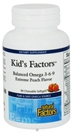Natural Factors - Kid's Factors Balanced Omega 3-6-9 - 90 Chewable Softgels Formerly Learning Factors by Natural Factors