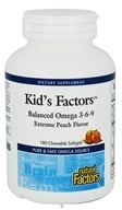 Natural Factors - Kid's Factors Balanced Omega 3-6-9 Extreme Peach Flavor - 180 Chewable Softgels Formerly Learning Factors (068958023694)