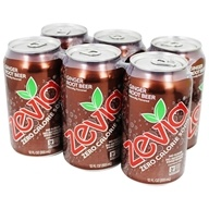Zevia - All Natural Soda Sweetened with Stevia 12 oz. Cans Ginger Root Beer Flavor - 24 Pack