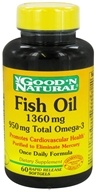 Image of Good 'N Natural - Fish Oil with 950 mg. Total Omega-3 Once Daily Formula 1360 mg. - 60 Softgels Rapid Release