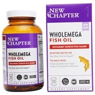 New Chapter - WholeMega 100% Wild Alaskan Salmon Extra Virgin Omega-Rich Fish Oil 1000 mg. - 120 Softgels (727783050038)