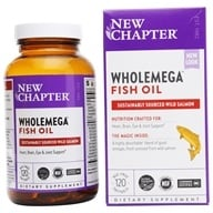 New Chapter - WholeMega 100% Wild Alaskan Salmon Extra Virgin Omega-Rich Fish Oil 1000 mg. - 120 Softgels by New Chapter