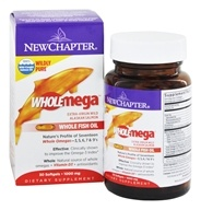 Image of New Chapter - Wholemega 100% Wild Alaskan Salmon Extra Virgin Omega-Rich Fish Oil 1000 mg. - 30 Softgels