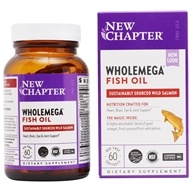 New Chapter - Wholemega 100% Wild Alaskan Salmon Extra Virgin Omega-Rich Fish Oil 1000 mg. - 60 Softgels (727783050021)