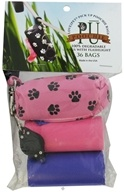 Image of Love2Pet - PU Poochie Pick Up Bags With Dispenser Pink Pawprints - 36 CLEARANCE PRICED