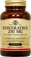 Solgar - Resveratrol With Red Wine Extract 250 mg. - 30 Softgels - $21.92
