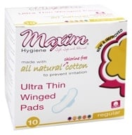 Maxim Hygiene - Individually Wrapped Cotton Pads Ultra Thin Winged Daytime Unscented - 10 Count (895199001170)