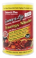 Nature's Plus - Source of Life Red Vitamin Mineral & Protein Energy Shake Natural Exotic Red Fruit Flavor - 1.1 lb. (097467305588)