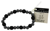 Image of Zorbitz - Karmalogy Lucky Karma Beads Bracelet Hematite Black Happiness Strength
