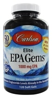 Carlson Labs - Elite EPA Gems 1000 mg. - 120 Softgels Formerly Norwegian EPA Gems Omega-3 Concentrate Fish Oil Concentrate