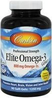 Carlson Labs - Norwegian Elite Omega-3 Gems Fish Oil Professional Strength Lemon Flavored 1250 mg. - 90 Softgels