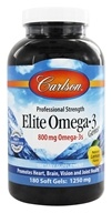 Carlson Labs - Norwegian Elite Omega-3 Gems Fish Oil Professional Strength Lemon Flavored 1250 mg. - 180 Softgels