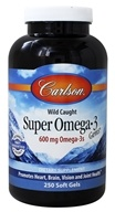 Carlson Labs - Norwegian Super Omega-3 Gems Fish Oil Concentrate 1000 mg. - 250 Softgels
