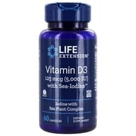 Life Extension - Vitamin D3 with Sea-Iodine 5000 IU - 60 Vegetarian Capsules