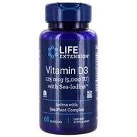 Life Extension - Vitamin D3 with Sea-Iodine 5000 IU - 60 Vegetarian Capsules - $10.50