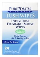 Pure Touch Skin Care - Individual Flushable Moist Tush Wipes Biodegradable - 24 Packet(s)