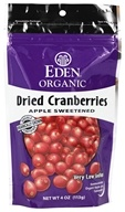 Eden Foods - Organic Dried Cranberries Apple Sweetened - 4 oz.