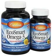 Carlson Labs - Norwegian EcoSmart Omega-3 Lemon Flavored 500 mg. - Bonus Pack 90 + 30 Softgels Formerly CalaOmega High DHA Omega-3 From Calamari (088395018046)