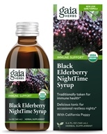 Image of Gaia Herbs - Rapid Relief Immune Support Black Elderberry NightTime Syrup - 5.4 oz.