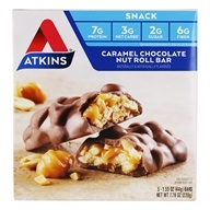 Snack Bars Caramel Chocolate Nut Roll - 5 Bars by Atkins