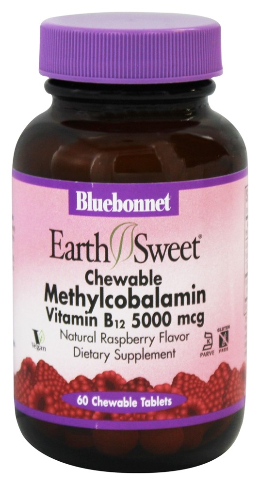 Bluebonnet Nutrition - Earth Sweet Chewable Methylcobalamin Vitamin B-12 Natural Raspberry Flavor 5000 mcg. - 60 Chewable Tablets