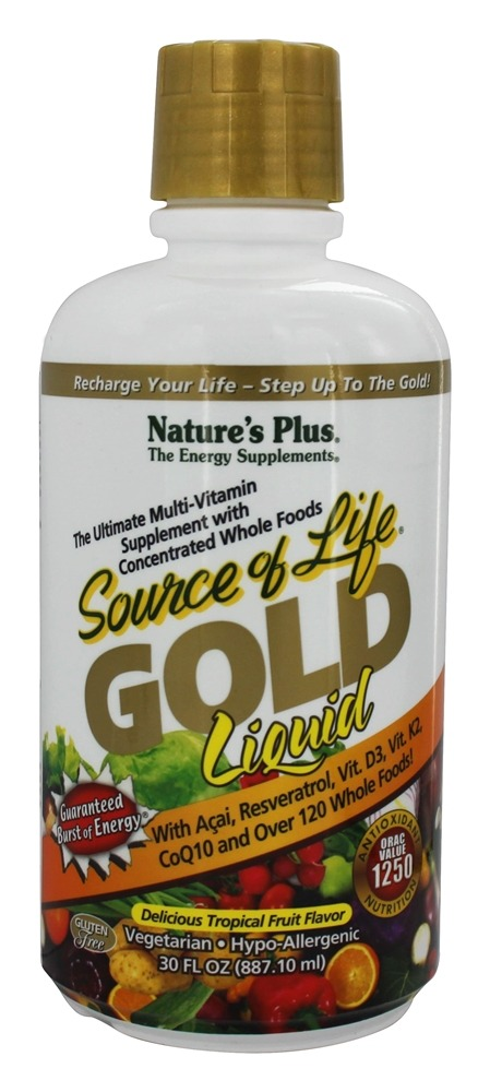 Nature's Plus - Source Of Life Gold Liquid Ultimate Multi-Vitamin Delicious Tropical Fruit Flavor - 30 oz.