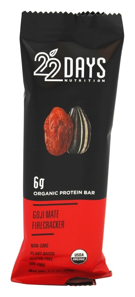 22 Days Nutrition - Vegan Energy Bar Goji Mate Firecracker - 1.7 oz.