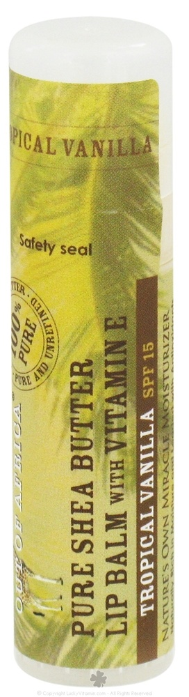 Out Of Africa - Pure Shea Butter Lip Balm with Vitamin E Tropical Vanilla - 0.25 oz. (formerly SPF15) CLEARANCE PRICED