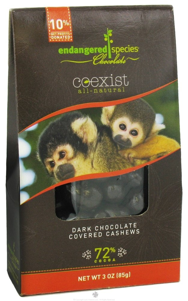 Endangered Species - Coexist All-Natural Dark Chocolate Covered Cashews 72% Cocoa - 3 oz.