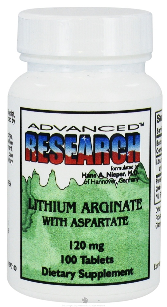 Advanced Research - Lithium Arginate with Aspartate 120 mg. - 100 Tablets