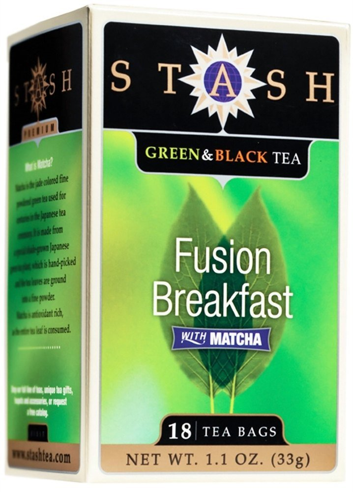 Stash Tea - Premium Fusion Breakfast Green & Black Tea with Matcha - 18 Tea Bags