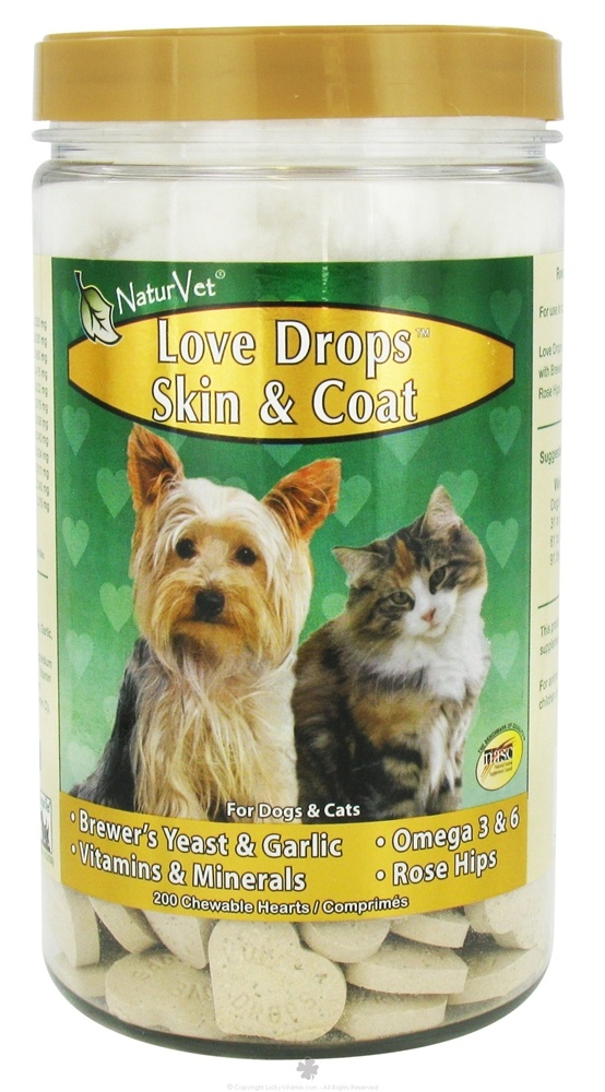 NaturVet - Love Drops Skin & Coat Hearts - 200 Chewables