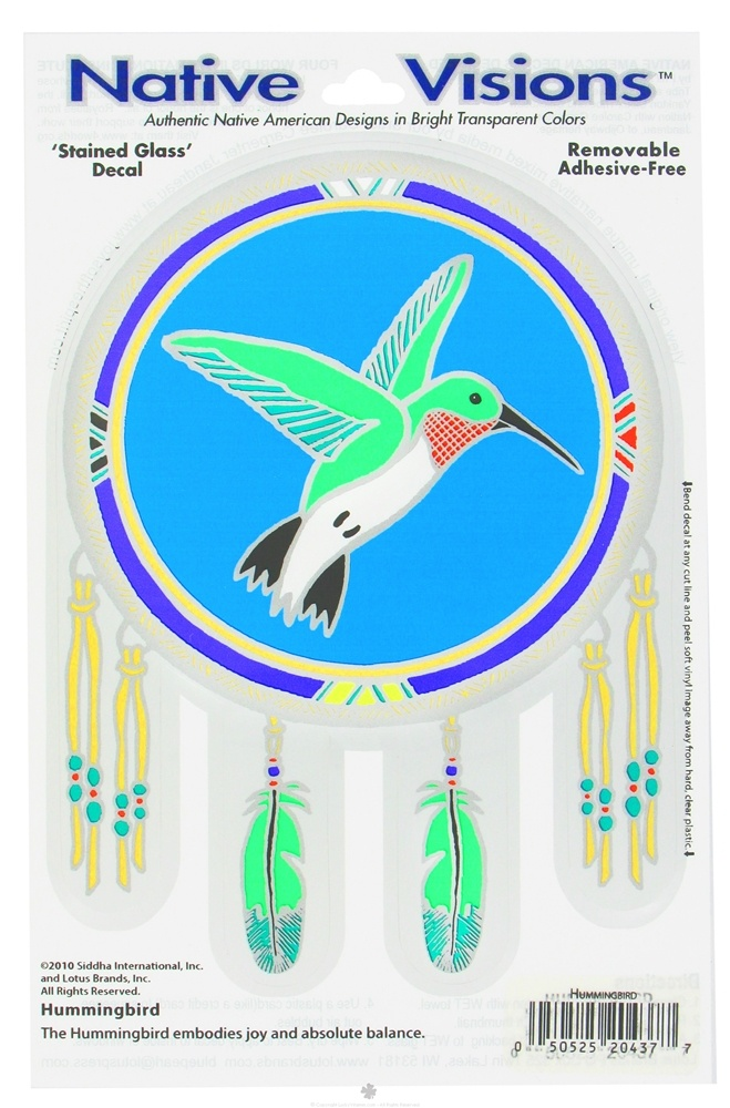 Native Visions - Window Transparencies Hummingbird - CLEARANCE PRICED