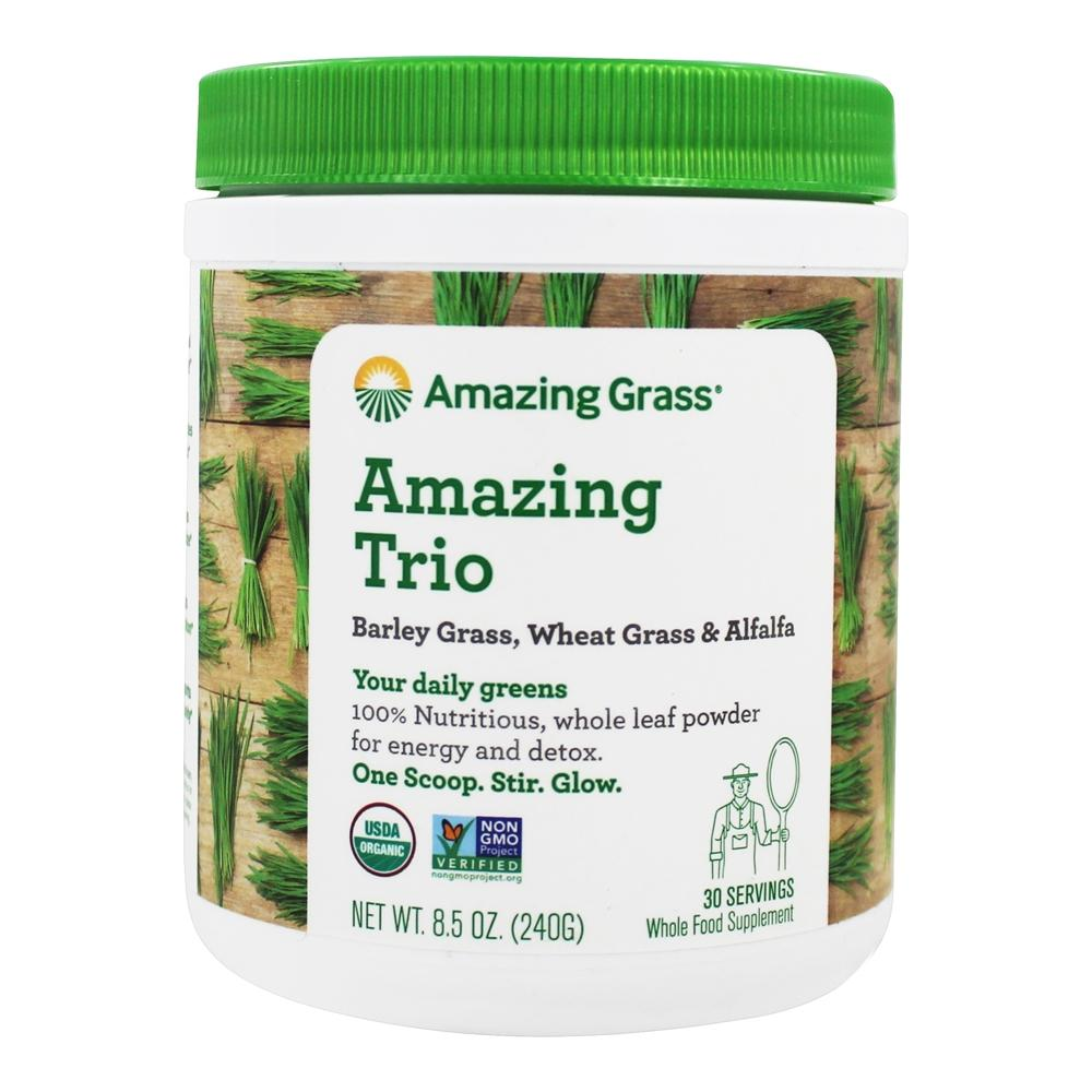 Amazing Grass - The Amazing Trio Barley, Wheat Grass & Alfalfa Whole Food Drink Powder 30 Servings - 8.5 oz.