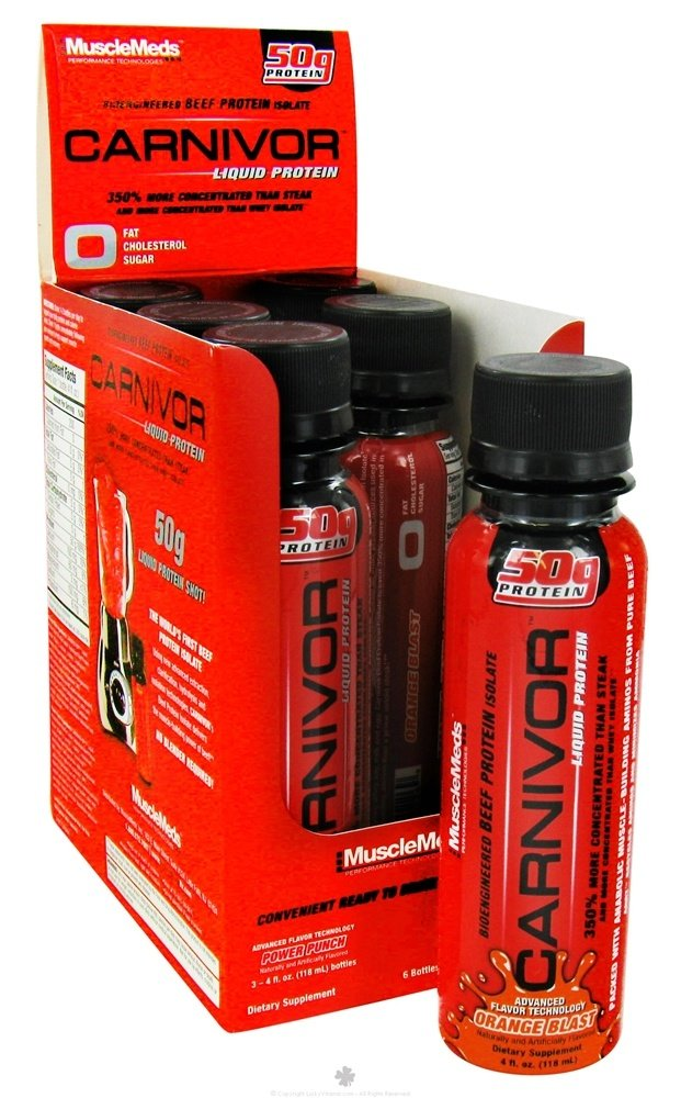 MuscleMeds - Carnivor RTD Liquid Protein Shot Variety Pack Power Punch & Orange Blast - 6 Pack