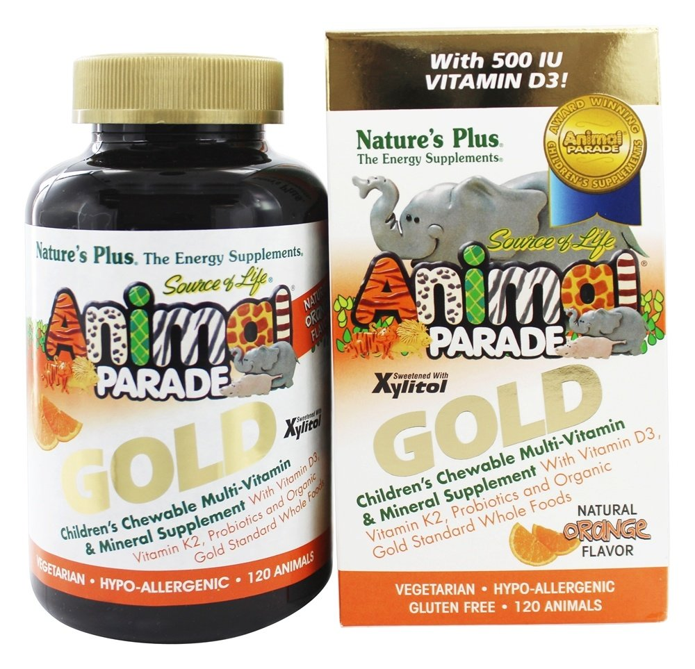 Nature's Plus - Source of Life Animal Parade Gold Children's Chewable Multi-Vitamin & Mineral Natural Orange Flavor - 120 Chewable Tablets