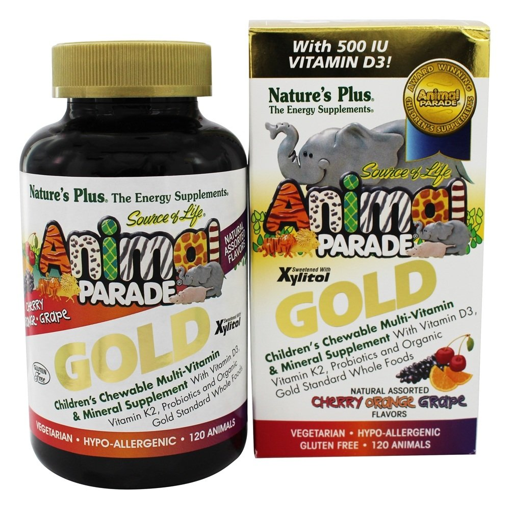 Nature's Plus - Source of Life Animal Parade Gold Children's Chewable Multi-Vitamin & Mineral Natural Assorted Cherry, Orange, Grape Flavors - 120 Chewable Tablets