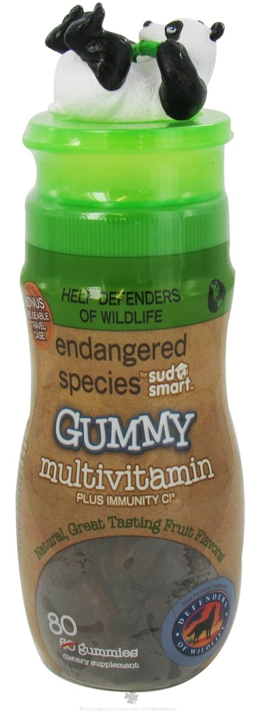 Health Science Labs - Endangered Species Gummy Multivitamin Plus Immunity C Fruit Flavors - 80 Gummies CLEARANCE PRICED