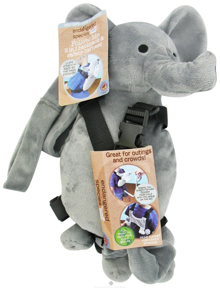 Health Science Labs - Endangered Species Follow Me 2 in 1 Backpack & Safety Harness Elephant - CLEARANCE PRICED